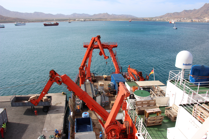 the research vessel METEOR in the port of Mindelo